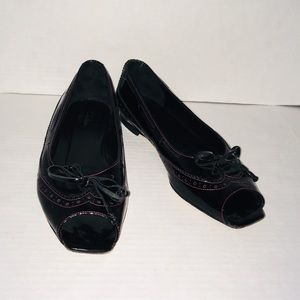Cole Haan Black Open Toe Flats Leather Shoes
